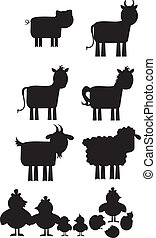 Farm animal silhouette isolated over white background....