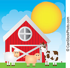 cute farm cartoon with animals over landscape background....