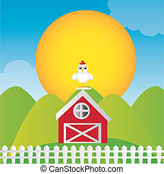 Imprimir - farm cartoon with chicken on house over landscape...