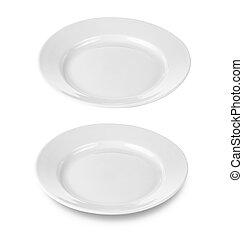 redondo, prato, ou, dishe, isolado, branca, Cortando,...