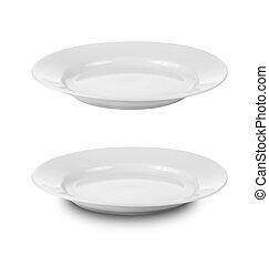 redondo, prato, ou, pratos, isolado, branca, Cortando,...