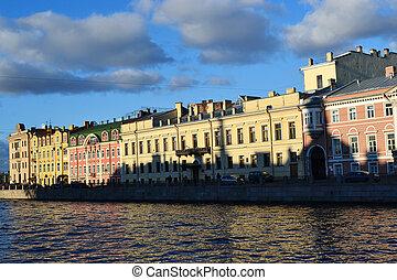 Buildings Fontanka river - River Fontanka quay in sunny day,...