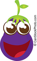 eggplant cartoon isolated over white background vector