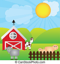 Imprimir - farm cartoon with animals over landscape...