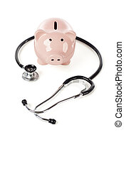 Piggy Bank and Stethoscope Isolated on a White Background
