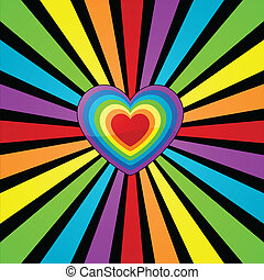 Rainbow heart background. - Heart background with rainbow...