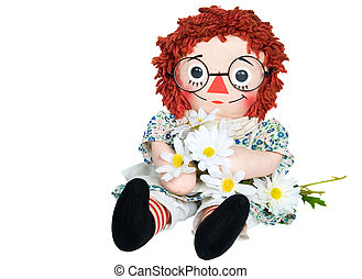 rag doll with daisies - Old rag doll holding a daisy bouquet...