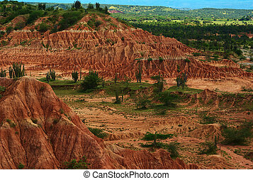 Tatacoa Desert, Colombia - The red slopes of the small...