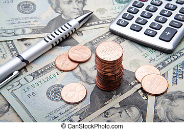 the 1 cent conts on banknotes background