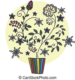 Flower in a pot - beautiful stylized plant with flowers and...