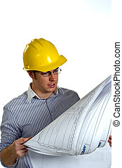 Construction Contractor Businessman on White - Young...