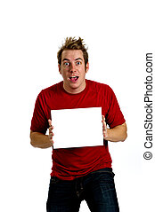 Excited Young Man holding a blank white sign