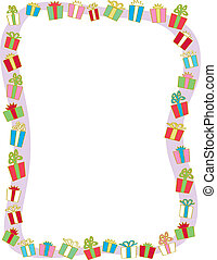 Holiday Gift Border - A border of many colorfully wrapped...