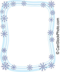 Winter Snowflake Border - A wintery blue border with...
