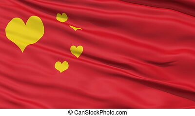 Realistic China flag in the wind - Realistic 3D detailed...