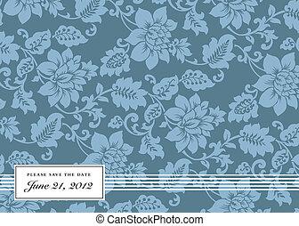 Vector Blue Floral Background and Frame