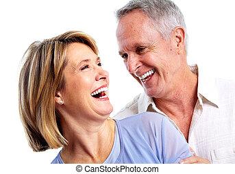 Happy elderly couple - Happy senior couple in love Isolated...