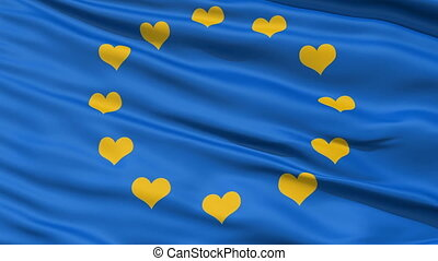 Realistic EU flag in the wind - Realistic 3D detailed slow...