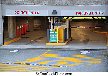 Entrance parking garage - Parking entrance in business...
