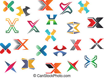 Alphabet letter X - Set of alphabet symbols and elements of...