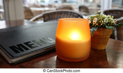 Cafe table with candle - Cafe table with candle, menu and...