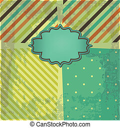 Vector greeting retro background with frame and polka dots