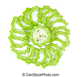 Bitter Gourd With Sliced on white background