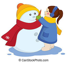 Girl with snowman - Little girl with snowman. Vector...