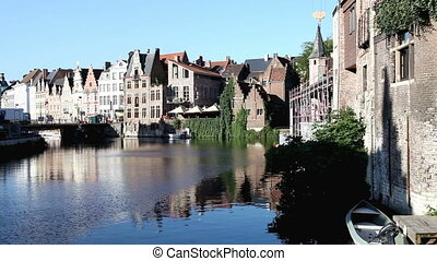Ghent, Belgium   - Cityscape of Ghent's canals, Belgium.