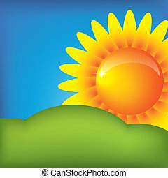 Vector sun on the blue sky background