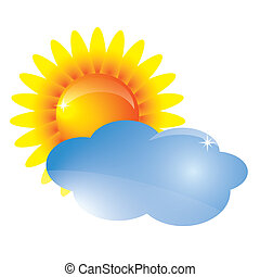 Vector sun and cloud Weather forecast icon