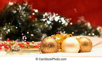 gold and white ornaments - three Christmas ornaments with...