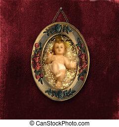 Antique Christmas Cards Baby Jesus - jesus child old...