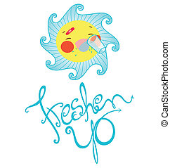 Ace Freshen Up - A sun character named ACE drinking water to...