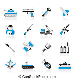 Army, weapon and arms Icons - vector icon set
