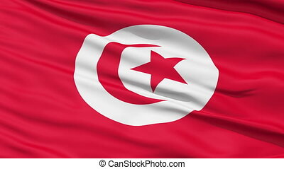 Realistic Tunisia flag in the wind - Realistic 3D detailed...