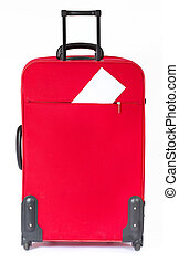 Suitcase with blank white ticket. Vertical side view. Over...