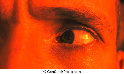 Paranoid eye Red Orange tint - Paranoid eye looking right,...