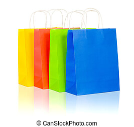 colorful shopping bags set including red, yellow, blue and...