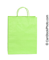 shopping green paper bag isolated on white background