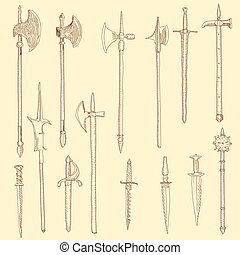 Weapon collection, medieval weapons
