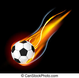 Fire Ball - Soccer Ball on Fire Illustration on black...