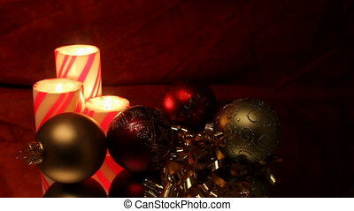 three pillar candles with ornaments - three Christmas pillar...