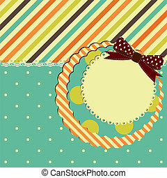 Vector greeting retro card with bow.