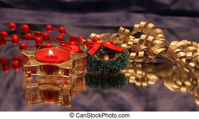 Christmas red tea candle - red tealight candle with holly...