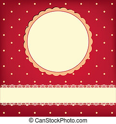 Vector greeting retro background with frame and polka dots...