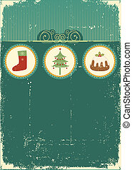 Vintage Christmas card for background