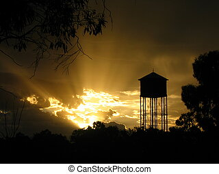 Australian Outback Water Tower Sunset from the township of...