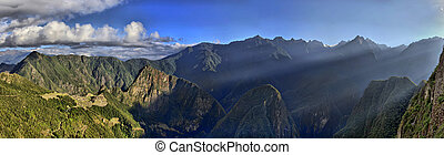 HDR Panorama of Sunrise over the RuinsMachu Picchu - HDR...