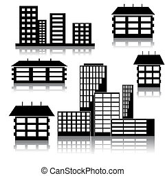 different kind of houses and buildings - Vector Illustration